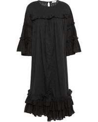 CLU Ruffled Cotton-mousseline Dress - Black