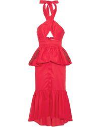 Johanna Ortiz Antillana Cutout Ruffled Cotton Halterneck Midi Dress - Red