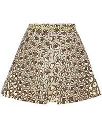 Roberto Cavalli - Leopard-print Cotton-twill Mini Skirt Animal Print - Lyst
