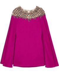 Marchesa Cape-effect Embellished Tulle-paneled Cady Mini Dress - Pink