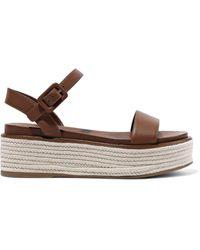Sergio Rossi Maui Leather Platform Espadrille Sandals Light Brown