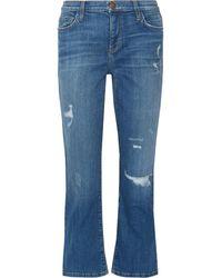 Current/Elliott The Kick Distressed Mid-rise Flared Jeans Mid Denim - Blue