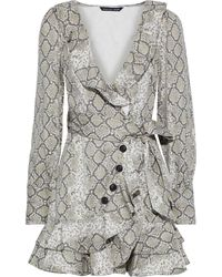 Marissa Webb Eli Wrap-effect Snake-print Cotton-canvas Mini Dress Animal Print - Gray