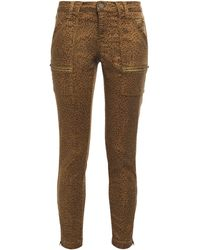 Joie Park Cropped Leopard-print Cotton-blend Twill Skinny Pants Animal Print - Brown