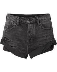Alexander Wang Distressed Denim Shorts Black