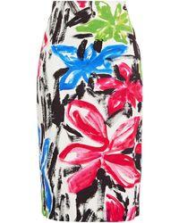 Marni Printed Cotton-drill Skirt - White