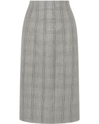 Thom Browne Lace-up Prince Of Wales Checked Wool And Silk-blend Skirt Grey