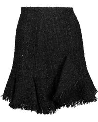 Goen.J - Frayed Metallic Bouclé-tweed Mini Skirt - Lyst