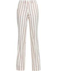 Ba&sh - Farah Striped Twill Straight-leg Pants Ecru - Lyst