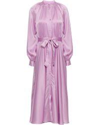Co. Belted Satin Midi Shirt Dress Lilac - Purple