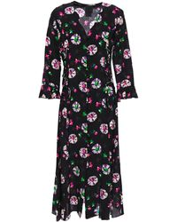 Anna Sui - Ruffle-trimmed Printed Silk Crepe De Chine Midi Dress Black - Lyst