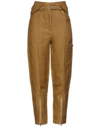 IRO - Tria Belted Linen And Cotton-blend Straight-leg Pants Army Green - Lyst