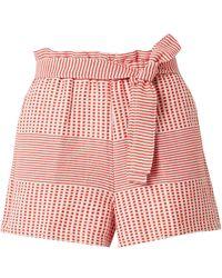 lemlem Semira Belted Cotton-gauze Shorts - Red