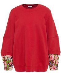 CLU Floral-print Oxford-paneled French Cotton-terry Sweatshirt - Red