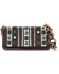 Valentino - Embellished Printed Pebbled-leather Shoulder Bag - Lyst
