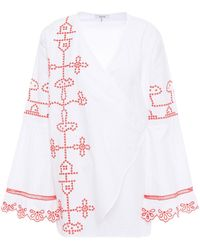 Ganni Embroidered Cotton Wrap Top - White