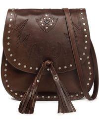 Just Cavalli - Embellished Embroidered Leather Shoulder Bag Dark Brown - Lyst