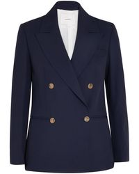 CASASOLA Double-breasted Wool, Silk And Linen-blend Blazer - Blue