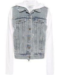 Bailey 44 Denim-paneled Cotton-fleece Hooded Jacket White