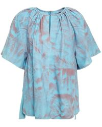 Stand Studio Gathered Printed Leather Top Light Blue