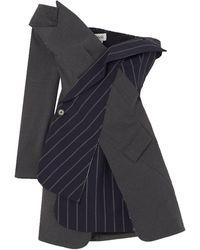 Monse Off-the-shoulder Panelled Wool-blend Mini Dress - Blue