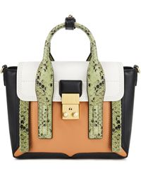 3.1 Phillip Lim Pashli Smooth And Snake-effect Leather Tote - White