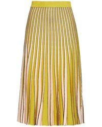 Baum und Pferdgarten Pleated Metallic Striped -blend Skirt - Yellow