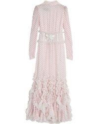 Giambattista Valli Tulle-trimmed Ruffled Polka-dot Fil Coupé Silk-blend Gown Ivory - White