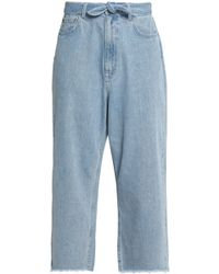 Zimmermann Tulsi Cropped Distressed High-rise Straight-leg Jeans - Blue
