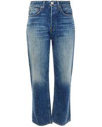 Rag & Bone Maya Cropped Faded High-rise Straight-leg Jeans - Blue