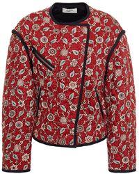 Étoile Isabel Marant Floral-print Quilted Linen Jacket Brick - Red
