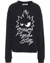 McQ Flocked Printed French Cotton-terry Sweatshirt Black