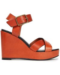 Ba&sh Celma Leather Wedge Sandals - Brown