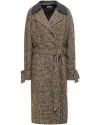 MASSCOB Cassandra Belted Leather-trimmed Checked Bouclé-tweed Coat Sage Green