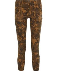 Joie Park Cropped Printed Cotton-blend Twill Skinny Trousers - Brown