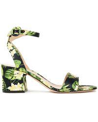 Gianvito Rossi Floral-print Satin Sandals - Black