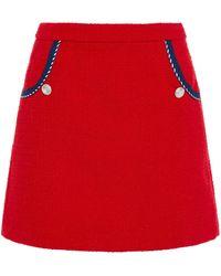 Claudie Pierlot Cotton-blend Tweed Mini Skirt - Red
