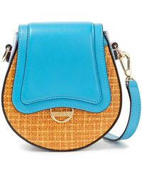 Emilio Pucci Dora Mini Printed Leather And Faux Raffia Shoulder Bag - Blue