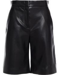 MSGM Faux Stretch-leather Shorts - Black