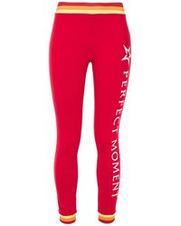Perfect Moment Printed Stretch Leggings - Red
