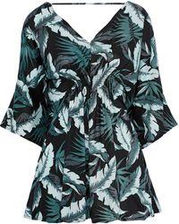Onia Alessandra Shirred Printed Twill Playsuit Grey Green