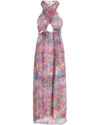 Matthew Williamson - Cutout Printed Silk-chiffon Halterneck Gown - Lyst