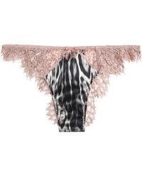 Roberto Cavalli - Leopard-print Satin And Corded Lace Low-rise Thong - Lyst