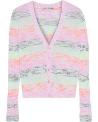 Cotton by Autumn Cashmere Striped Mélange Ribbed Cotton-blend Cardigan - Multicolour