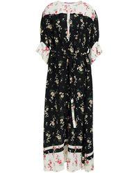 Vivetta Belted Floral-print Crepe Midi Dress - Black