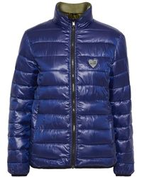 Love Moschino Reversible Appliquéd Quilted Shell Jacket Indigo - Blue