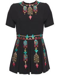 Valentino Embellished Embroidered Silk Crepe De Chine Playsuit Black