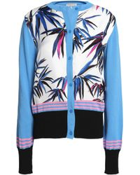 Emilio Pucci - Panelled Cotton And Printed Silk-twill Cardigan - Lyst