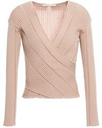 Jonathan Simkhai Wrap-effect Pointelle-trimmed Ribbed-knit Top - Multicolour