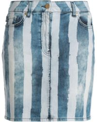 Love Moschino - Striped Denim Mini Skirt Light Denim - Lyst